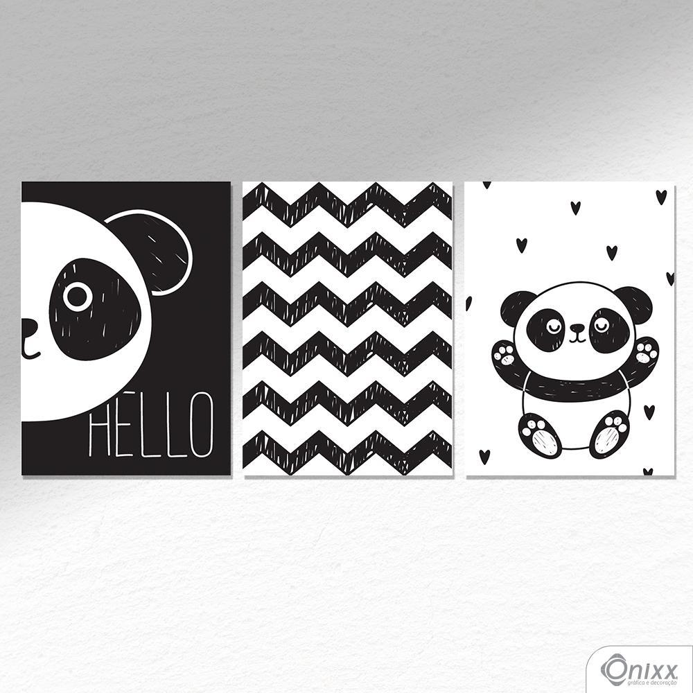Kit De Placas Decorativas Cute Panda A4