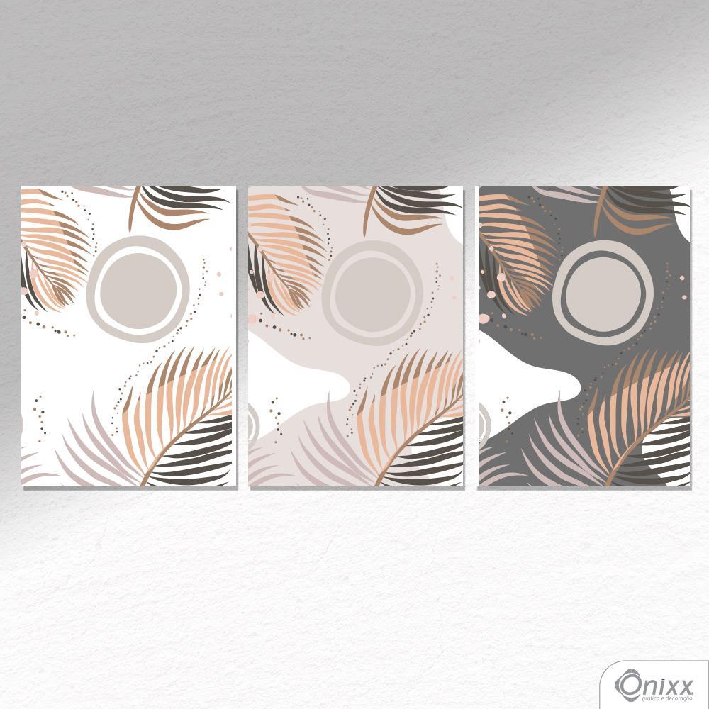 Kit De Placas Decorativas Folhagem Neutra A4