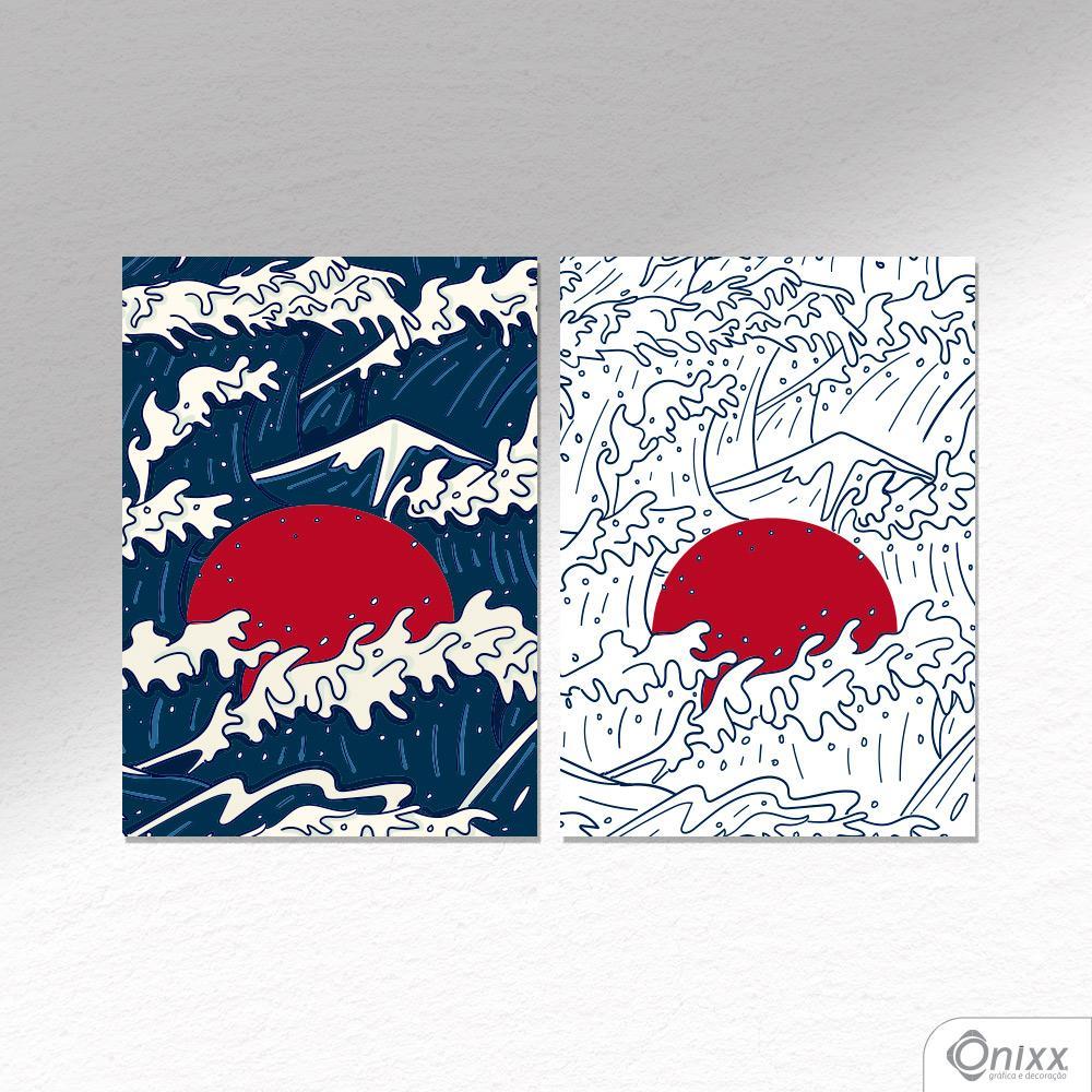 Kit De Placas Decorativas Japan Waves A4