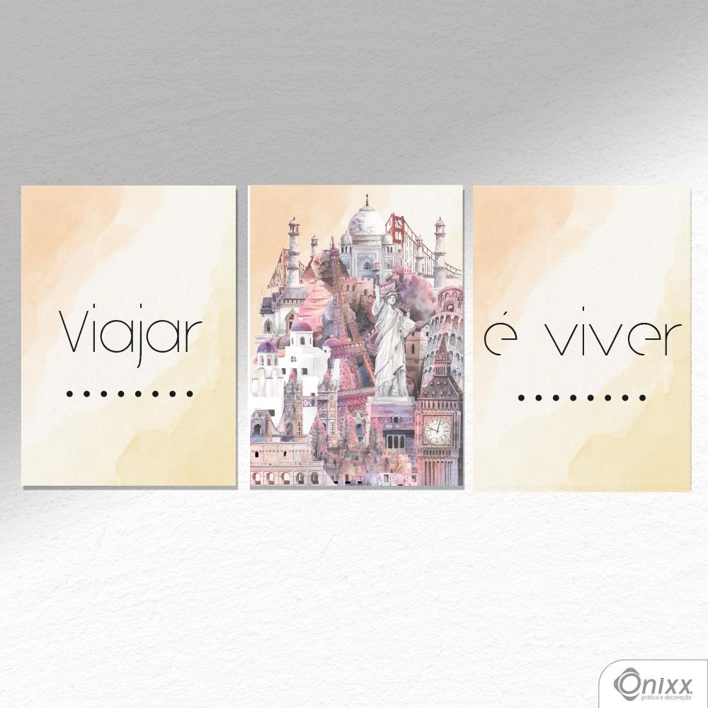 Kit De Placas Decorativas Viajar é Viver A4