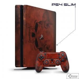 Skin Game Adesiva PS4 SLIM Evil Skull Adesivo Vinil Americano 10µ  4x0 Brilho Corte Eletrônico