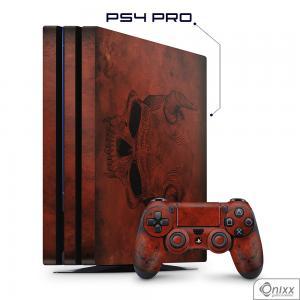 Skin Game Adesiva PS4 PRO Evil Skull Adesivo Vinil Americano 10µ  4x0 Brilho Corte Eletrônico