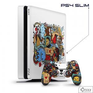 Skin Game Adesiva PS4 SLIM Crazy Beings Adesivo Vinil Americano 10µ  4x0 Brilho Corte Eletrônico