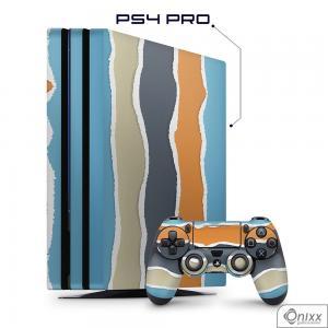 Skin Game Adesiva PS4 PRO Cool Stripes Adesivo Vinil Americano 10µ  4x0 Brilho Corte Eletrônico