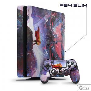 Skin Game Adesiva PS4 SLIM Futuristic Aventure Adesivo Vinil Americano 10µ  4x0 Brilho Corte Eletrônico