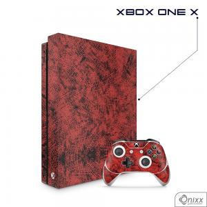 Skin Game Adesiva XBOX ONE X Canvas Red Adesivo Vinil Americano 10µ  4x0 Brilho Corte Eletrônico