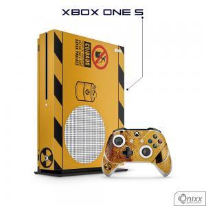 Skin Game Adesiva XBOX ONE S Não Pule no Lixo Radioativo Adesivo Vinil Americano 10µ  4x0 Brilho Corte Eletrônico