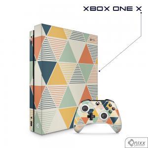 Skin Game Adesiva XBOX ONE X Triângulos Coloridos Adesivo Vinil Americano 10µ  4x0 Brilho Corte Eletrônico