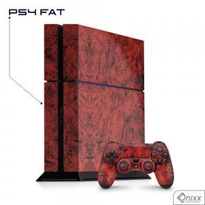 Skin Game Adesiva PS4 FAT Canvas Red Adesivo Vinil Americano 10µ  4x0 Brilho Corte Eletrônico