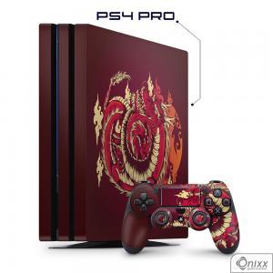 Skin Game Adesiva PS4 PRO Dragão Vermelho Adesivo Vinil Americano 10µ  4x0 Brilho Corte Eletrônico