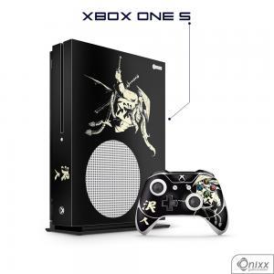 Skin Game Adesiva XBOX ONE S Invincible Samurai Adesivo Vinil Americano 10µ  4x0 Brilho Corte Eletrônico
