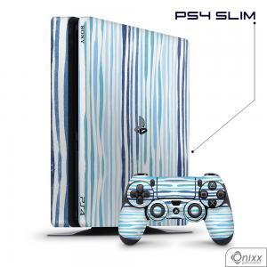 Skin Game Adesiva PS4 Slim Blue Stripes Adesivo Vinil Americano 10µ  4x0 Brilho Corte Eletrônico