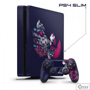 Skin Game Adesiva PS4 SLIM Gueixa Adesivo Vinil Americano 10µ  4x0 Brilho Corte Eletrônico