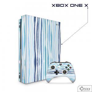 Skin Game Adesiva XBOX ONE X Blue Stripes Adesivo Vinil Americano 10µ  4x0 Brilho Corte Eletrônico