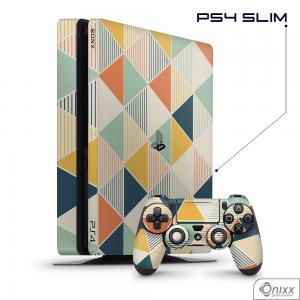 Skin Game Adesiva PS4 SLIM Triangulos coloridos Adesivo Vinil Americano 10µ  4x0 Brilho Corte Eletrônico