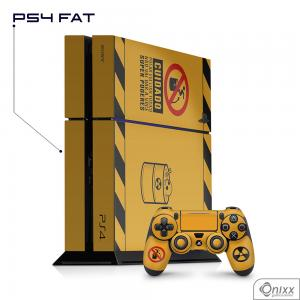 Skin Game Adesiva PS4 FAT Não Pule No Lixo Radioativo Adesivo Vinil Americano 10µ  4x0 Brilho Corte Eletrônico