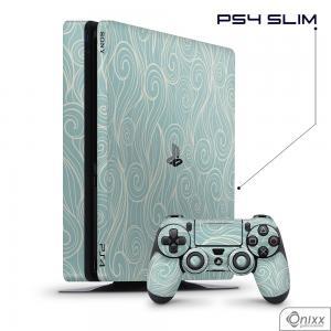Skin Game Adesiva PS4 SLIM Light Blue Waves Adesivo Vinil Americano 10µ  4x0 Brilho Corte Eletrônico
