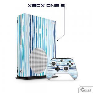 Skin Game Adesiva XBOX ONE S Blue Stripes Adesivo Vinil Americano 10µ  4x0 Brilho Corte Eletrônico