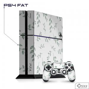 Skin Game Adesiva PS4 FAT Galhos e Folhas Adesivo Vinil Americano 10µ  4x0 Brilho Corte Eletrônico