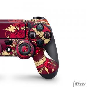Skin Game Adesiva PS4 JOYSTICKS Dragão Vermelho Adesivo Vinil Americano 10µ  4x0 Brilho Corte Eletrônico