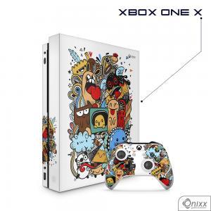 Skin Game Adesiva XBOX ONE X Crazy Beings Adesivo Vinil Americano 10µ  4x0 Brilho Corte Eletrônico