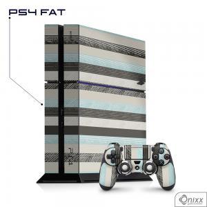 Skin Game Adesiva PS4 FAT Stripes Adesivo Vinil Americano 10µ  4x0 Brilho Corte Eletrônico