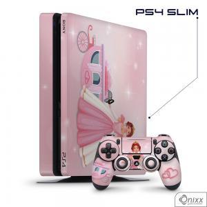 Skin Game Adesiva PS4 SLIM Princesa Tema Rosa