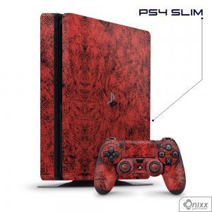 Skin Game Adesiva PS4 SLIM Canvas Red Adesivo Vinil Americano 10µ  4x0 Brilho Corte Eletrônico