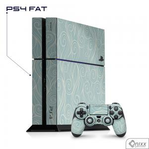 Skin Game Adesiva PS4 FAT Light Blue Waves Adesivo Vinil Americano 10µ  4x0 Brilho Corte Eletrônico