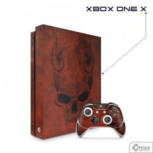 Skin Game Adesiva XBOX ONE X Evil Skull Adesivo Vinil Americano 10µ  4x0 Brilho Corte Eletrônico