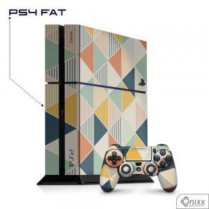 Skin Game Adesiva PS4 FAT Triangulos coloridos Adesivo Vinil Americano 10µ  4x0 Brilho Corte Eletrônico