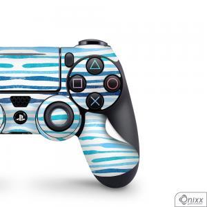 Skin Game Adesiva PS4 JOYSTICKS Blue Stripes Adesivo Vinil Americano 10µ  4x0 Brilho Corte Eletrônico