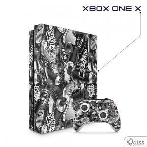 Skin Game Adesiva XBOX ONE X Estilo Gráfite Adesivo Vinil Americano 10µ  4x0 Brilho Corte Eletrônico