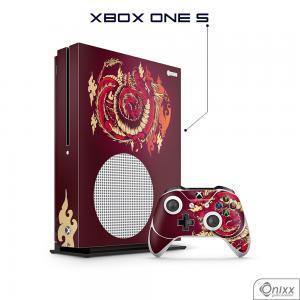 Skin Game Adesiva XBOX ONE S Dragão Vermelho Adesivo Vinil Americano 10µ  4x0 Brilho Corte Eletrônico