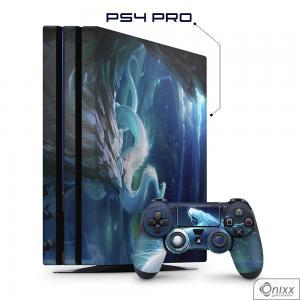 Skin Game Adesiva PS4 PRO White Dragon Adesivo Vinil Americano 10µ  4x0 Brilho Corte Eletrônico