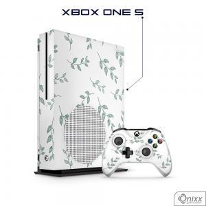 Skin Game Adesiva XBOX ONE S Galhos e Folhas Adesivo Vinil Americano 10µ  4x0 Brilho Corte Eletrônico