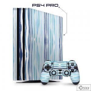 Skin Game Adesiva PS4 PRO Blue Stripes Adesivo Vinil Americano 10µ  4x0 Brilho Corte Eletrônico