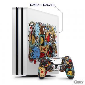 Skin Game Adesiva PS4 PRO Crazy Beings Adesivo Vinil Americano 10µ  4x0 Brilho Corte Eletrônico