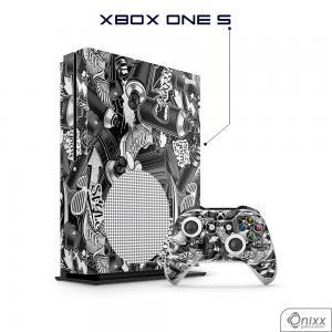 Skin Game Adesiva XBOX ONE S Estilo Gráfite Adesivo Vinil Americano 10µ  4x0 Brilho Corte Eletrônico