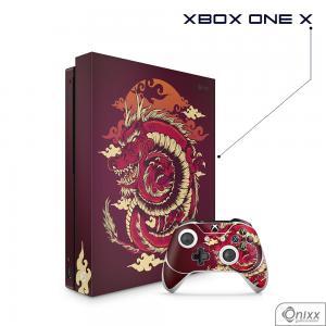 Skin Game Adesiva XBOX ONE X Dragão Vermelho Adesivo Vinil Americano 10µ  4x0 Brilho Corte Eletrônico