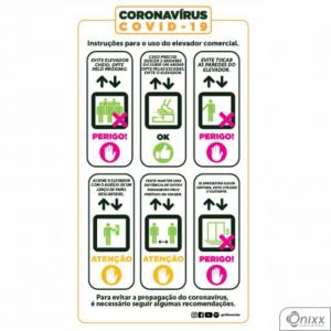 Adesivo Orientação de Elevador Comercial Adesivo Vinílico 0,10 14,8x27cm 4x0 / Látex Fosco Corte 100% Digital