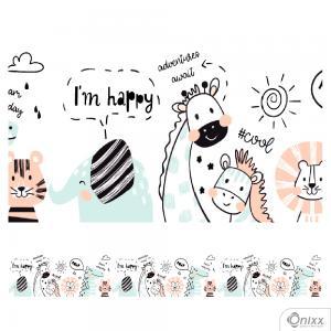 Faixa Decorativa Animais I´m Happy Adesivo Vinílico 0,10  4x0 / Látex Fosco corte Reto