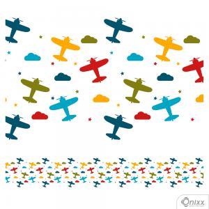Faixa Decorativa Avião Color Branco Adesivo Vinílico 0,10  4x0 / Látex Fosco corte Reto