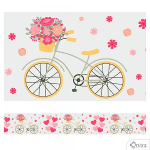 Faixa Decorativa Bicicleta Flores Adesivo Vinílico 0,10  4x0 / Látex Fosco corte Reto