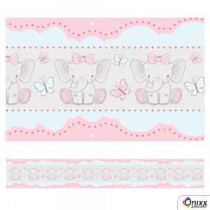 Faixa Decorativa Elefante Rosa Adesivo Vinílico 0,10  4x0 / Látex Fosco corte Reto