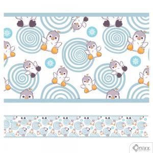 Faixa Decorativa Pinguins Azul Adesivo Vinílico 0,10  4x0 / Látex Fosco corte Reto