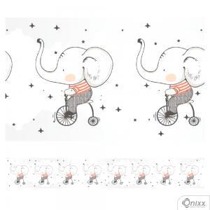 Faixa Decorativa Elefante Triciclo Adesivo Vinílico 0,10  4x0 / Látex Fosco corte Reto