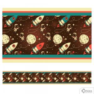 Faixa Decorativa Espaço Sideral Adesivo Vinílico 0,10  4x0 / Látex Fosco corte Reto