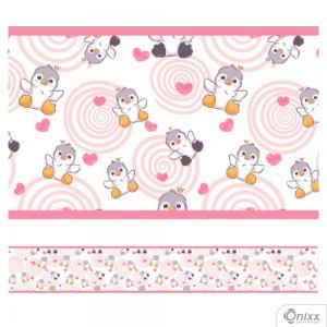 Faixa Decorativa Pinguins Rosa Adesivo Vinílico 0,10  4x0 / Látex Fosco corte Reto