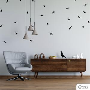 Kit de Adesivos Pássaros Black Adesivo Vinil 0,10  4x0 | Impressão Digital - Látex Fosco Corte 100% Digital
